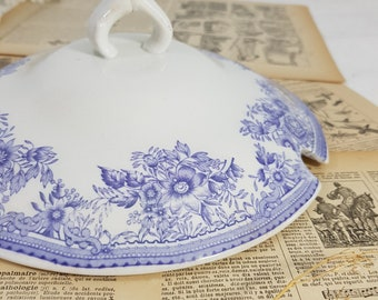 Lavender Transferware Soup Tureen Lid Only, Antique Replacement Lid, White and Purple Ironstone Lid, French Tureen, French Lid, Soup Tureen