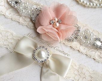 Peach Wedding Garte-Stretch Lace Garter-Bridal Garter-Lace Garter Flower Garter-Keepsake Garter-Ivory Lace Garter
