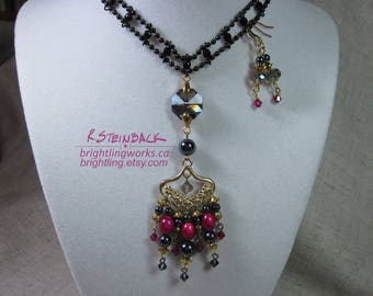 Fortune's Hand; Bellydance Styled Necklace and Earrings of Crystal, Natural Hematite & Glass in Magenta, Grey and Black with Gold Findings