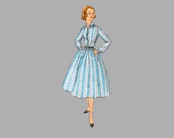 1957 one-piece dress wtih two skirts pattern Simplicity 2149 Bust 36, Designed for teens, Shirtwaist dress, UNCUT FF, Side zipper, Pockets