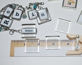 Crystal Clear GLASS Cabochon SQUARES (6 pack) 1 x 1 inch (25mm) Square and Flat on Back with a 1/8 inch edge