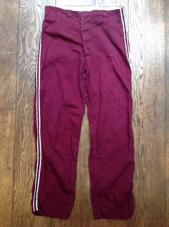 "Vintage 1960s 60s burgundy red purple cotton Wilson striped baseball pants trousers button fly sportswear 33"" x 32"""