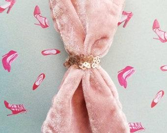 Baby pink velvet  clip on bow
