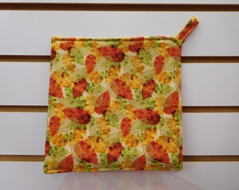 """622 Autumn Leaves Hot Pad, Fall Pot Holder, Fabric Trivet, Autumn Leaves Decor, Quilted Heat Resistant Backing, 7-3/4"""" by 7-3/4"""" Square"""