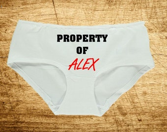 "Personalized Women's Underwear Knickers Panties ""Property Of Named"" Novelty Gift Wedding Favour Birthday Present Lingerie"