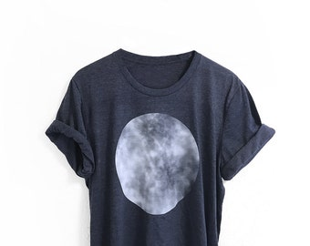 Moon Graphic Tee • Unisex Mens Womens White Sphere T-Shirt • Outdoor Night Astronomy • Cotton Shirt • Graphic Tshirts Tops Shirt • L415&Co