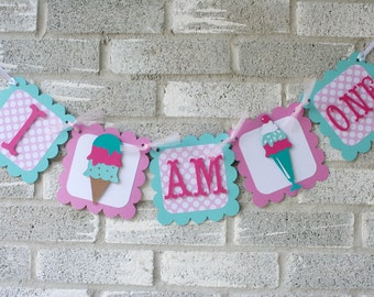 Ice Cream Shoppe Highchair Banner, Ice Cream I am 1 Banner, Sweets shop birthday, ice cream shoppe birthday, ice cream, Ice cream Birthday
