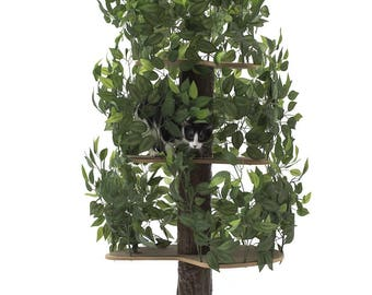 On2Pets Tree Cat Condo Large Round, Tree House Tower for Climbing, Playing, Scratching, and Relaxing - 60 in. high