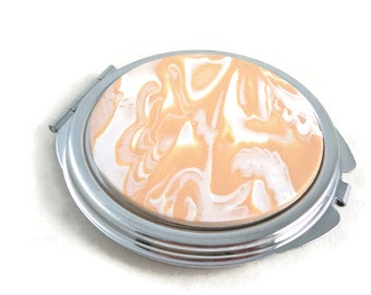 Compact with clay embellishment tan and white marbled unique purse accessory