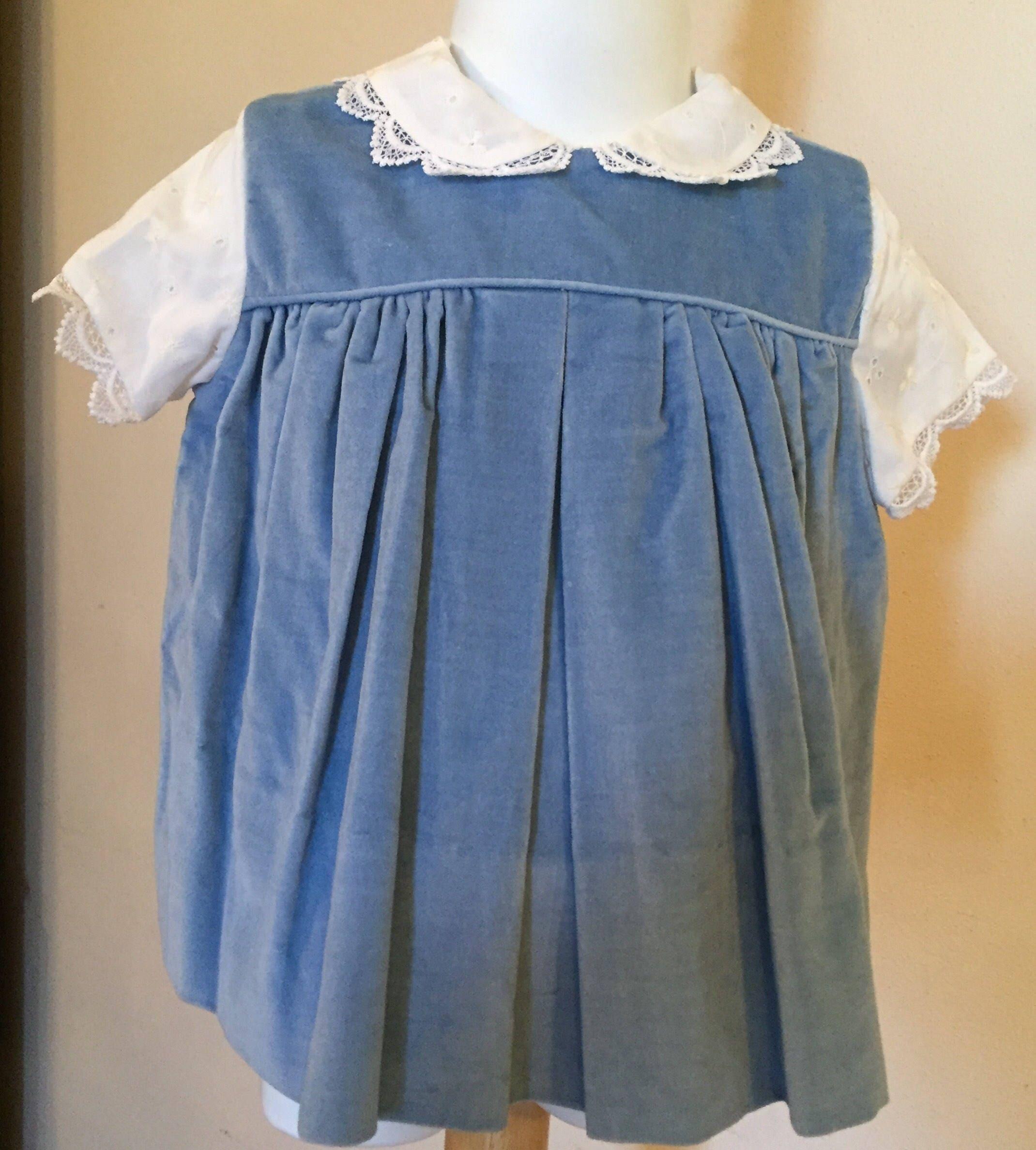 Vintage Baby Girl Empire Dress Blue Velvet Lace Collar &