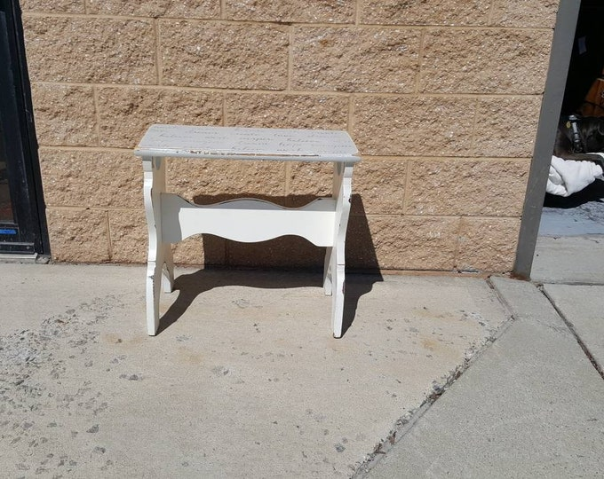 Pick up Only Vintage Farmhouse Shabby chic table or bench, rustic country bedroom, night stand, french country, cottage