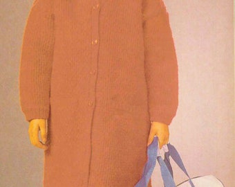 PDF Crochet Pattern for Girl's Coat/Girl's Outfit in Afghan/ SIZE : Instructions for C-6,C-8,C-10/ Crochet Pattern- A456