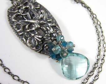 Swooping in Necklace - Sterling Silver Bird Pendant with Teal Quartz and  Apatite