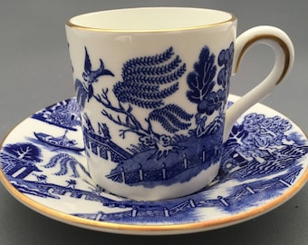 Coalport Willow Blue Coffee Can and Saucer