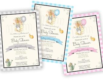 Peter Rabbit Baby Shower Invitation, Peter Rabbit Shower, Custom Baby Shower Invitation