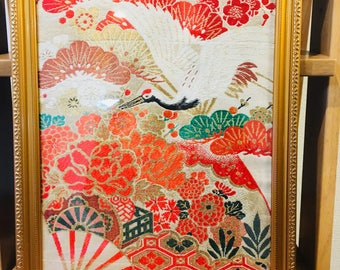 Antique Kimono obi in frame