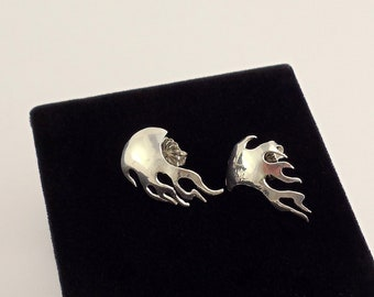Sterling Silver Flame Cuff Earring (studs)