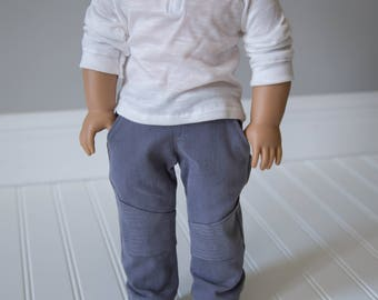 Custom made moto pant and raglan top for 18in boy dolls such