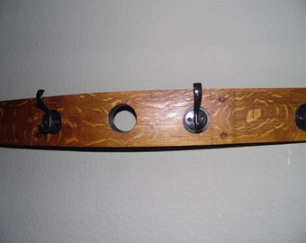 Wine Barrel Stave Hat and Coat Rack with Four Hooks, With the  Bung Hole, Home Decor, Storage
