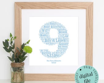 9th ANNIVERSARY GIFT - Word Art - Printable Gift - Gift for Husband - 9th Wedding Anniversary - Pottery Anniversary - Personalised Gifts