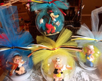 Big Bad Wolf and the Three Little Pigs Globe Ornament Set