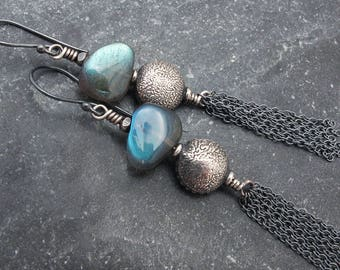 labradorite earrings, sterling silver earrings, tassel earrings, long earrings, boho earrings, Hill Tribe silver, boho jewelry, luxury