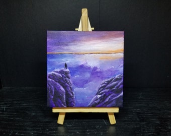View at the Peak - Original Acrylic mini painting on canvas with easel