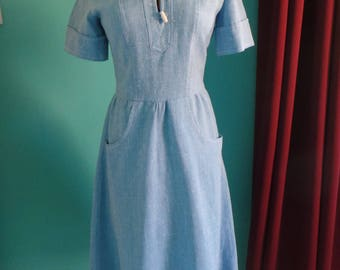 1970's vintage Chambray blue dress