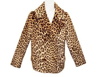 Vintage Leopard Coat, Faux Fur, Hollywood Glamour, 1950s