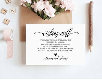 Wishing Well Insert Card Printable, 100% Editable, Instant Download, Lieu of Gifts, DIY Wedding Wishing Well Template #023-102EC 020 022 014