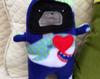 Guppy  ~ The Black Pug-Jama Party Bummlie ~ Stuffing Free Dog Toy - Ready To Ship Today