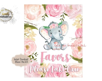 Favors Sign 8X10, Baby Shower, Birthday Party, Blush Pink,Elephant, Flowers,