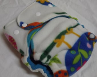 Fleece AI2 Hybrid Fitted Organic Cotton Cloth Diaper  Big Owls All in Two