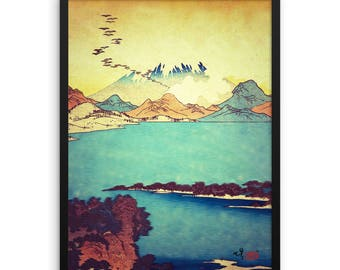 "Vintage Japanese Ukiyo-e Framed Art Print signed Landscape Poster by Kijiermono ""Upon Arrival at Dekijin"" Wall Home Decor"