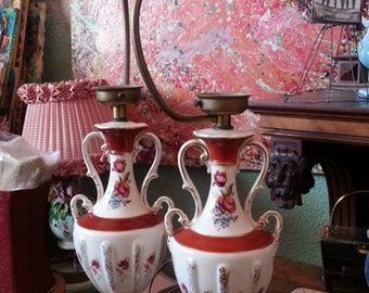 Vase Lamps, Urn Lamps,  Buffet Lamps, Boudoir Lamps, Parisian Decor, Handpainted Urn Lamps