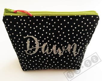 Personalized Hand-sewn Knitting Notions or Makeup Zipper Pouch