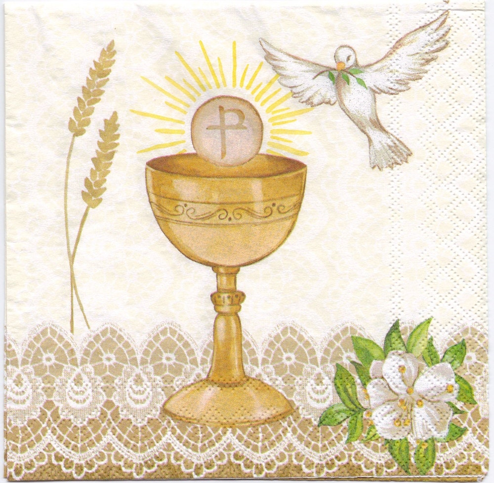 Decoupage Paper Napkin Communion Chalice With Cross And
