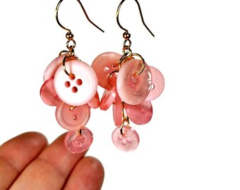 Button Dangle Earrings, Pink Dangle Earrings, Pink Earrings, Pink Button, Button Jewelry, Gift For Her, Upcycled Jewelry in Gold OR Silver