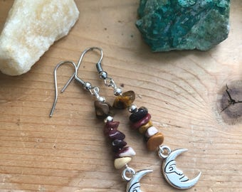 Mookaite and Tigers Eye with moon charm