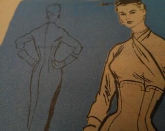 Vintage 1950's Mail Order M272 Prominent Designer Alan Phillips Dress Sewing Pattern Size 18 Bust 36