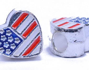 Heart Flag Bead For Paracord Or Leather Work - 5 Pack