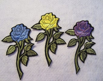 Embroidered Rose Iron On Patch, Rose Applique, Rose Patch, Iron On Rose Patch, Roses, Appliques, Rose Applique