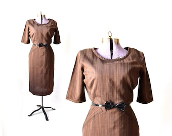 Brown Dress, 1960s Dress, 60s Dress, Pencil Dress, Linen Dress, Bias Cut Dress, Vintage Clothing Vintage Dress