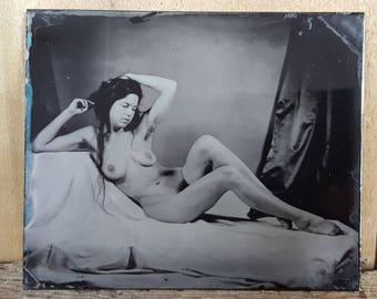 Nude model figure study tintype Kelsey-05