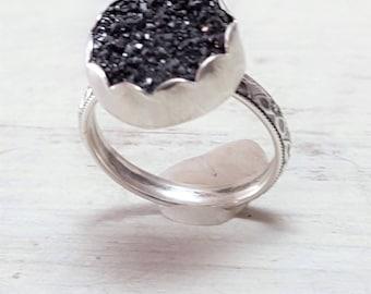 Lil Druz --  Druzy Ring in Black Drusy Sterling Silver Ring