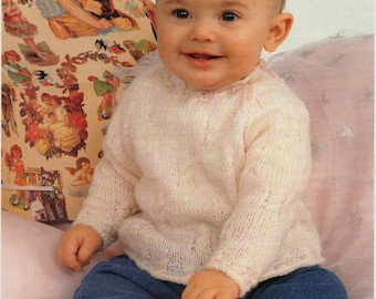 """baby sweater knitting pattern pdf download baby cable jumper round neck 16-22"""" DK light worsted 8ply pdf instant download"""