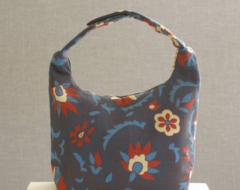 Large Insulated Lunch Bag, Large Women Lunch Bag, Work Lunch Tote,Large Lunch Bag,Reusable Lunch Bag, Red Flower Blue Leaves on Dark Blue