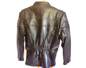 Black Top Grain Leather Gallery Motorcycle Jacket L Funky Zip Off Liner YKK Unisex 44 In Chest