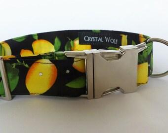 Cute Dog Collar, Lemon Print, Classic Collar, Fabric Pet Collar, Swarovski Crystals ,Doggie Gift, Adjustable Collar, Big Dog Collar
