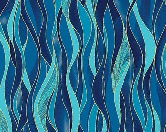 Dancing Waves Blue Metallic Benartex Fabric 1 yard